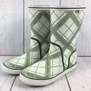 SOLD Lacoste Plaid Rubber Rain Boots Mid-Calf